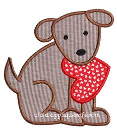 Valentine Dog 3 Applique Design