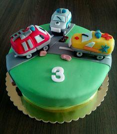 Fireman car, ambulance, police car cake