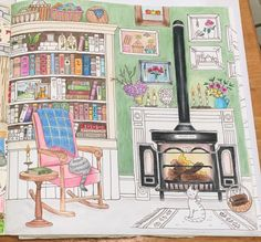 Work in progress. Romantic Country coloring book by Eriy. P81 The Fireplace Room. Still working on this one. Getting there though.....  As always Prismacolor colored pencil but also in this picture a touch of glitter glue on the flames in the fireplace. I got a set of elmers glitter glues in 5 colors and just dab it on, removing as much glue but leaving all the glitter I can. I really like this affect. Pity it is so hard to show in a flat picture.