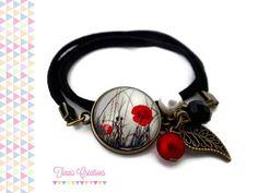 Bracelet cabochon - Coquelicot - noir rouge blanc perle breloque bronze verre : Bracelet par tinais-creations