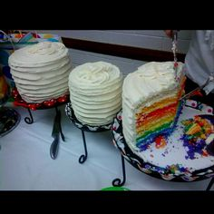 Every layer of the cake is a color of the young women values! Such a cute idea.