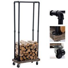 Porte bûche rangement bois chauffage FORKS 30x60x150 noir métal roues étagère | eBay