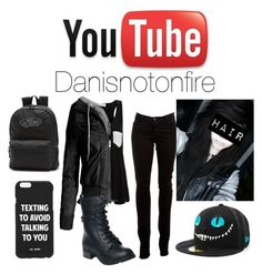 """""""A day with Dan"""" by daughterofapotter ❤ liked on Polyvore featuring J Brand, Solid & Striped, Reneeze, Jac Vanek, Vans, New Era, black, Blue, emo and danisnotonfire"""