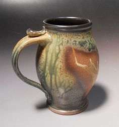 Nice shape and ash glaze Muggle Mug READY TO SHIP for only 6oo by larryspearspottery