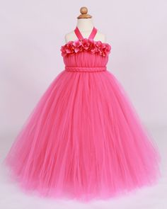 Flower Girl Tutu Dress - Hot Pink - Tickled Pink - 7-8 Youth Girl - Cutie Patootie Designz on Etsy, $110.00