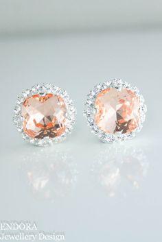 Swarovski peach bridal earrings | peach bridesmaid earrings | peach wedding | peach and silver | www.endorajewellery.etsy.com