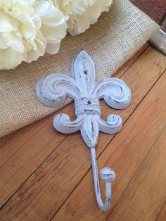 Fleur De Lis Wall Hook, Shabby Chic Cast Iron Wall Hook,Metal Key Holder,Bathroom Fixture,Bedroom Decor,Ornate Wall Hook,French Country on Etsy, $10.00