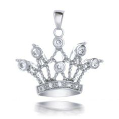 Bling Jewelry Sterling Silver Bezel Setting CZ Royal Crown Pendant