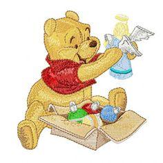 Winnie Pooh ready to Christmas machine embroidery design