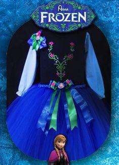 Conjunto Anna inspirado em Frozen: tutu, tiara e blusinha  ( em cotton preta-mangas azuis longas ou curtas) gravada em strass