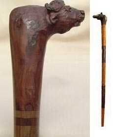 African hand carved wooden buffalo cane
