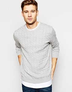 River island Crew Neck Jumper in Cable Knit