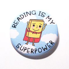 Book Buttons Reading Superpowers Book Superhero Pins Cute Pins Nerdy Pinback Buttons Librarian Accessories Library Buttons