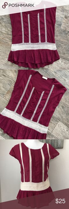 Altar'd State Pleated Crochet Feminine Peplum Top Altar'd State Pleated Crochet Feminine Peplum Top - Gorgeous Cranberry color - excellent used condition. Size Large. No fabric tag. Altar'd State Tops Blouses
