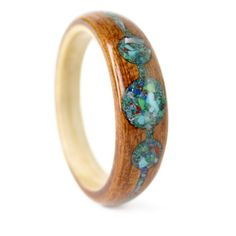 Mahogany Wood Engagement Ring with Elemental Stone Mix and Maple Liner