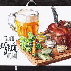 Сказ о чешских традиционных кушаньях. Много. Вредно. Очень вкусно.| The story about Czech cuisine.  #алхимияпутешествий, #prague_sketchingtour, #prague, #leuchtturm1917, #copic, #copicmarker, #traveljournal, #sketch, #illustration, #beer, #meat, #czechcuisine, #food, #foodsketch