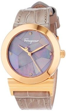 .Ferragamo Women's FG2030013 Grande Maison Gold Ion-Plated Stainless Steel Mother-Of-Pearl Diamond Watch