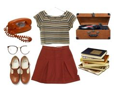 A fashion look from July 2015 featuring striped shirt, brown skirt and flat shoes. Browse and shop related looks. 90s Fashion, Vintage Fashion, Fashion Looks, Fashion Outfits, Beautiful Outfits, Cool Outfits, Casual Outfits, Indie Outfits, Work Looks