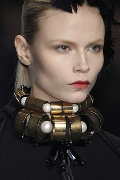 tubes, circles, pearls, brass, onyx, choker necklace