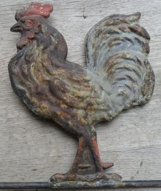 9in tall (this is top of a weather vane).  Antique Weathervane Rooster Old Paint Vintage Country Primitive Original Paint?