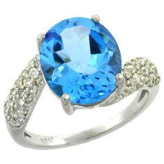 14k White Gold Swiss Blue Topaz Halo Engagement Ring Again with an Opal instead