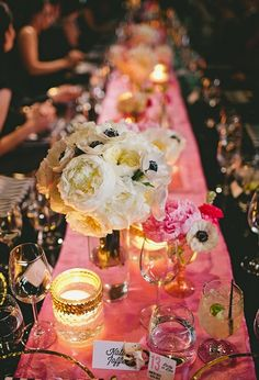 Hot pink table runner + glass votives + peonies + anemones
