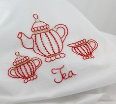 Red tea set embroidered on white linen | Flickr - Photo Sharing! || tea towel embroidery