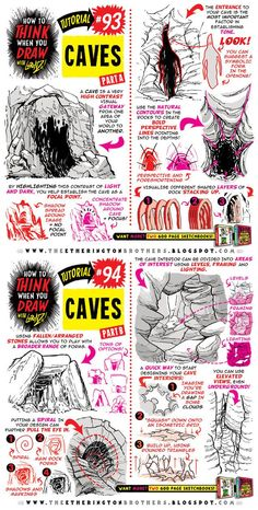 How to draw CAVES and CAVERNS tutorial by STUDIOBLINKTWICE.deviantart.com on @DeviantArt #Drawingtips