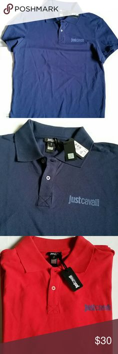 JUST CAVALLI men's polo shirt Authentic New with tags,  authentic polo shirt  Navy and red colors available  PLease note - all sizes are European . they run smaller than American ones SIZE L 21 inches armpit to armpit  size XL is 23 inches armpit to armpit PRICE IS FIRM! Just Cavalli Shirts Polos
