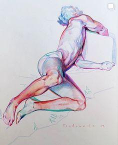 ArtStation - the colored pencil drawings, Alex Hanukafast Anatomy Sketches, Anatomy Art, Art Sketches, Art Drawings, Drawing Faces, Realistic Drawings, Figure Sketching, Figure Drawing, Pencil Sketching