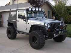Simportho's Bucket JK Jeep Wrangler Silver Billet with Light Bar and Black Grill Jeep Wrangler Silver, 2008 Jeep Wrangler, Jeep Rubicon, Jeep Truck, Jeep Jeep, Jeep Camping, Land Cruiser, Jeeps, Offroad