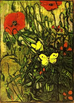 Vincent Van Gogh. Poppies and Butterflies (1890).