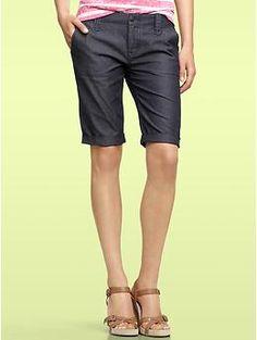 Sleek denim Bermuda shorts $55  of course, I'd need the boyish hips to go with them...