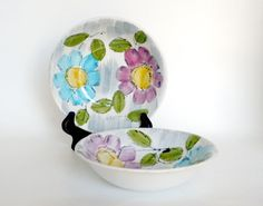 Floral Serving Bowls Daisy Bowls Hand Painted by BunnyFindsVintage