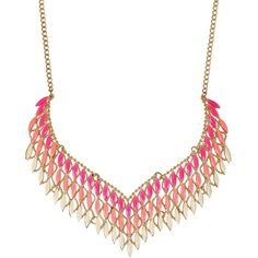 Ruby Rocks Accessories Pink & Orange Elegant Collar Necklace ($17) ❤ liked on Polyvore featuring jewelry, necklaces, multicolour, gold plated chain necklace, collar necklace, chain pendants, pink pendant and pink necklace