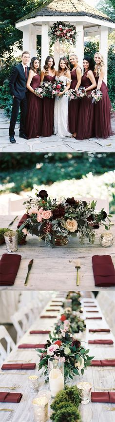 a gorgeous burgundy,marsala and berry toned garden wedding
