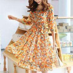 Korean Sweet Lemon Chiffon Floral Dress