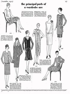 The principle parts of one's (1920s) wardrobe are... #vintage #1920s #fashion #dresses #illustrations