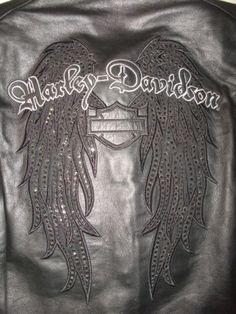 Harley Davidson Womens Indulgence Black Leather Jacket Crystal Wings