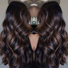 Long Waves with Warm Caramel Balayage - 70 Balayage Hair Color Ideas with Blonde, Brown and Caramel Highlights - The Trending Hairstyle Brown Hair Balayage, Balayage Brunette, Hair Color Balayage, Brunette Hair, Black Balayage, Long Brunette, Fall Hair Color For Brunettes, Fall Hair Colors, Black Hair With Highlights