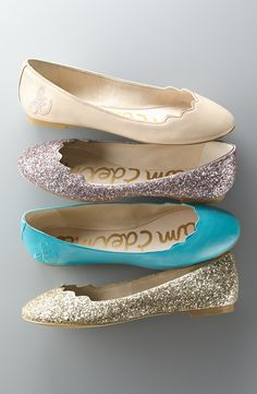 Classic ballet flats get a playful twist with a partially scalloped topline. Suuuper cute sparkly and fun colors! Pretty Shoes, Cute Shoes, Me Too Shoes, Awesome Shoes, Ballerinas, All About Shoes, Mode Inspiration, Crazy Shoes, Womens Flats