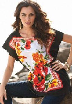 Roamans Plus Size Scarf Print Tunic $19.99 - $24.99