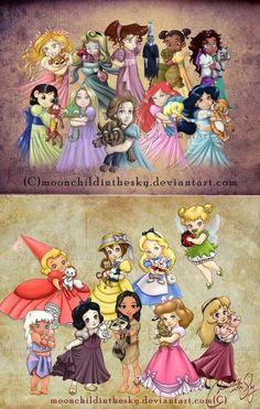 Young Disney Princesses and Heroines Walt Disney, Cute Disney, Disney Girls, Disney Magic, Disney Babies, Disney Princesses And Princes, Disney Princess Art, Disney Fan Art, Disney And Dreamworks