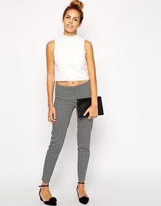 New Look Flower Tile Print Slim Leg Trouser