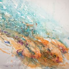 Aquarell, Aquarelle, Fische, cling film, loose technique, Wasser, watercolor, Tiere, undersea, Fish Market, veredit, Isabella Kramer,