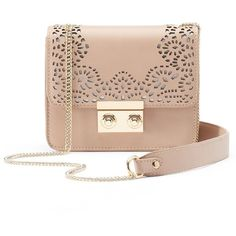 InStyle Laser-Cut Mini Crossbody Bag ($78) ❤ liked on Polyvore featuring bags, handbags, shoulder bags, mini crossbody, purse shoulder bag, mini crossbody purse, pink purse and handbags shoulder bags