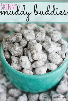 Skinny Muddy Buddies at http://therecipecritic.com  A delicious, easy and addictive snack and only 100 calories a serving vs regular muddy buddies at 365 a cup!  #recipe #dessert
