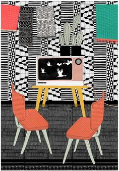Illustration 'Television room' by Petra Ferweda