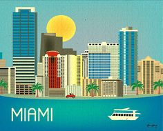 Miami, Florida Skyline - Horizontal Destination Print Poster Gift and Wall Art for Homes, Work, and Nursery - style Miami Map, Miami Florida, Art Miami, Miami Beach, Vegas Skyline, Skyline Art, Voyage Usa, Cities, America Images