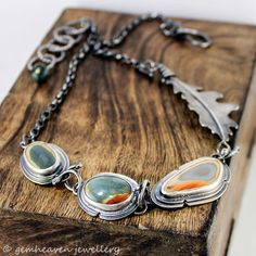 Sterling silver Leaf and Imperial Jasper Statement Rustic Necklace - Wild At Heart -